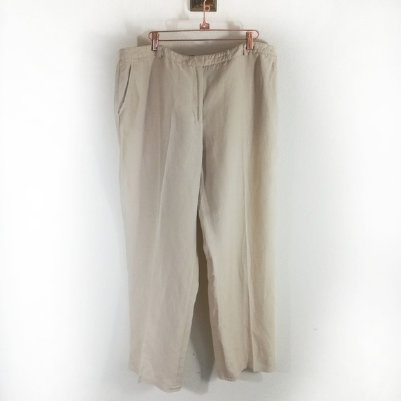 latest selection classic style of 2019 search for genuine Kasper linen rayon blend wide leg tan pants